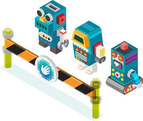 برخلاف خطای گوگل، سرویس HCaptcha با یوایکس رایتینگ و تصویرسازی بادقت به ما میگوید: رباتها حق عبور ندارند و باید خود را اثباتکنند.