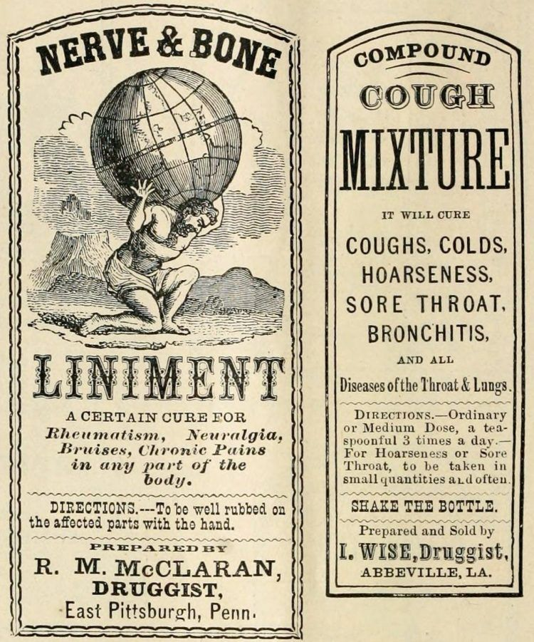 Old drugstore medicine labels Liniment and cough mixture 1874 750x901 1