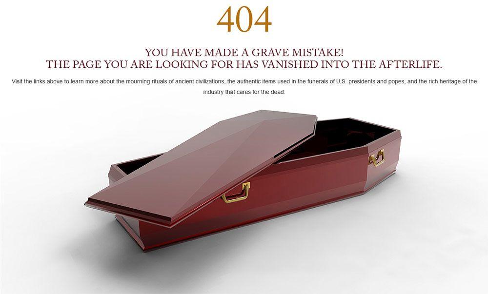 نمونه طنز تلخ در طراحی متن خطا سایت موزه مرگ